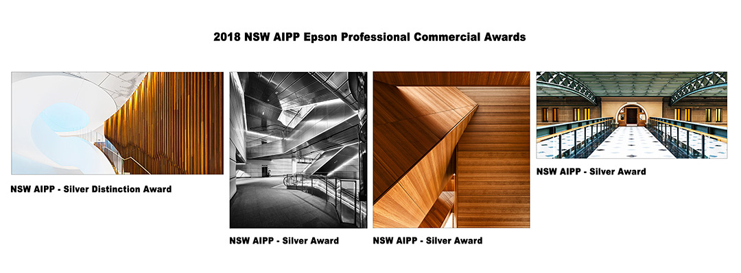 Kevin Chamberlain wins 1 Silver Distinction award and 3 Silver awards as 1 of 3 Finalists in the 2018 NSW AIPP Commercial Photography Award