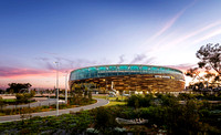 Exterior Architectural Photography of Optus Stadium at Dusk