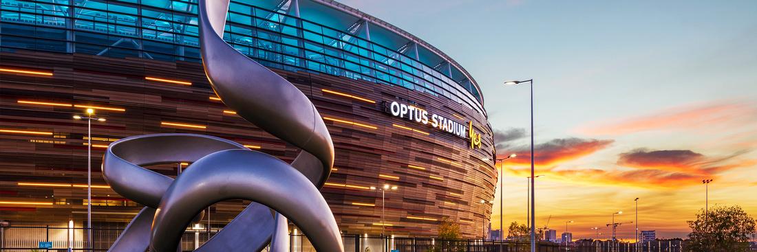 Sydney architecture photographer photographs the Optus Stadium in Perth at dusk for Schindler Australia