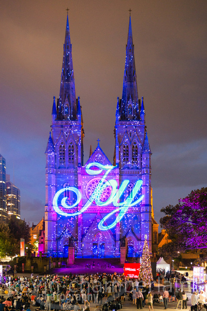 Event Photography of St Mary's Cathedral lit up with the Christmas Illuminations
