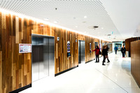 Sydney architectural photorapher photographs commercial architectural images of the lifts inside the Melbourne Cancer Center