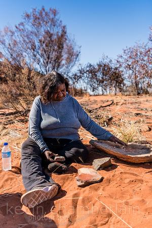 Documentary photography of indigenous Australian Margaret giving Bush Tucker Lessons