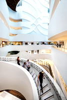 Sydney architectural photographer photographs the space age interior design of the multi level Melbourne Cancer Centre for Schindler Lifts Australia