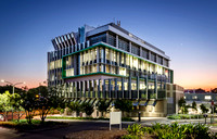 Sydney Architectural Photographer photographs the facade framing of Neuroscience Research Australia Building for Frame Tek - photographed at dusk