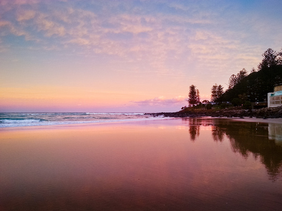 Burleigh Beach Sunset and water