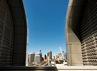 Architectural and Commercial photography of the view from the roof of Data Storage Centre, showing the Sydney CBD skyline